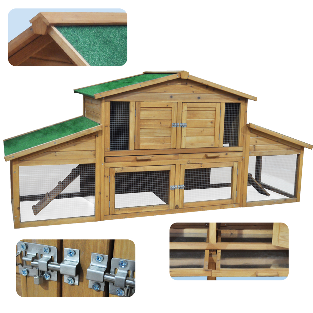Wooden rabbit hutch pet house animal cage 2 floor xxl for 2 rabbit hutch