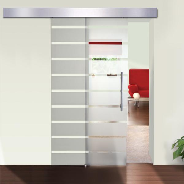 Porte coulissante en verre pour int rieur aluminium satin 205x77 5 cm neuf - Porte interieure en verre coulissante ...