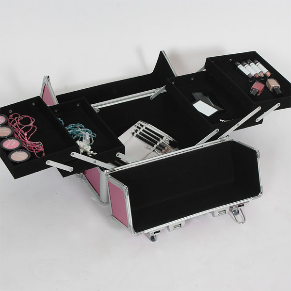 Aluminium Trolley Beauty Makeup Cosmetic Case Tool Box Bag Pink Black Mobile New | EBay