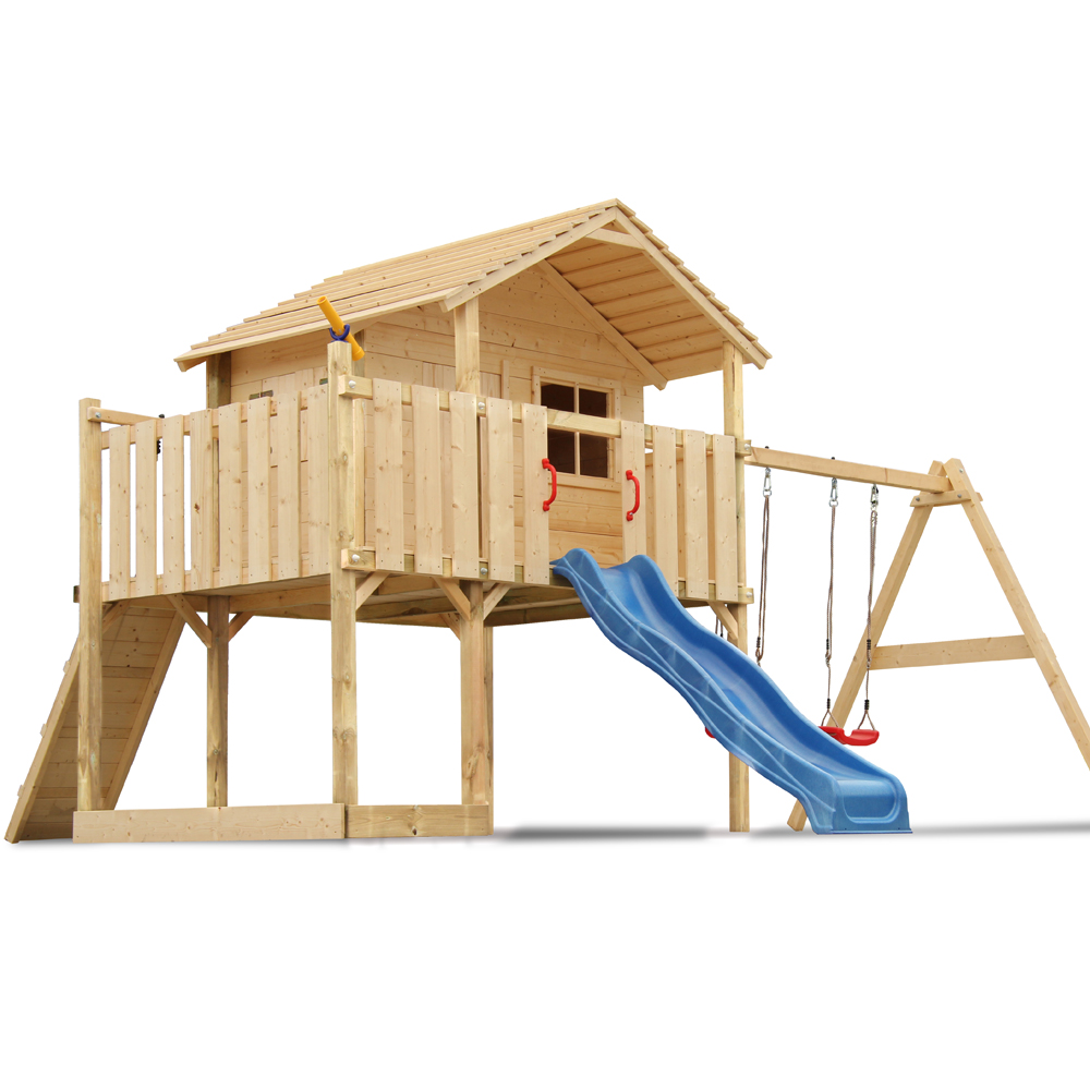 children play tower stilt tree house wood slide swing. Black Bedroom Furniture Sets. Home Design Ideas