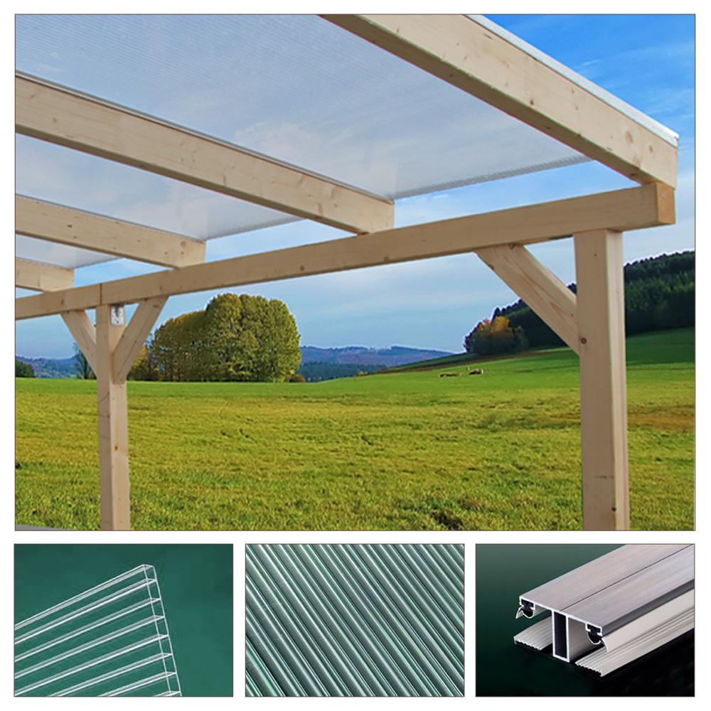 massif bois auvent toit terrasse polycarbonate jardin patio 400x300cm ext rieure ebay. Black Bedroom Furniture Sets. Home Design Ideas