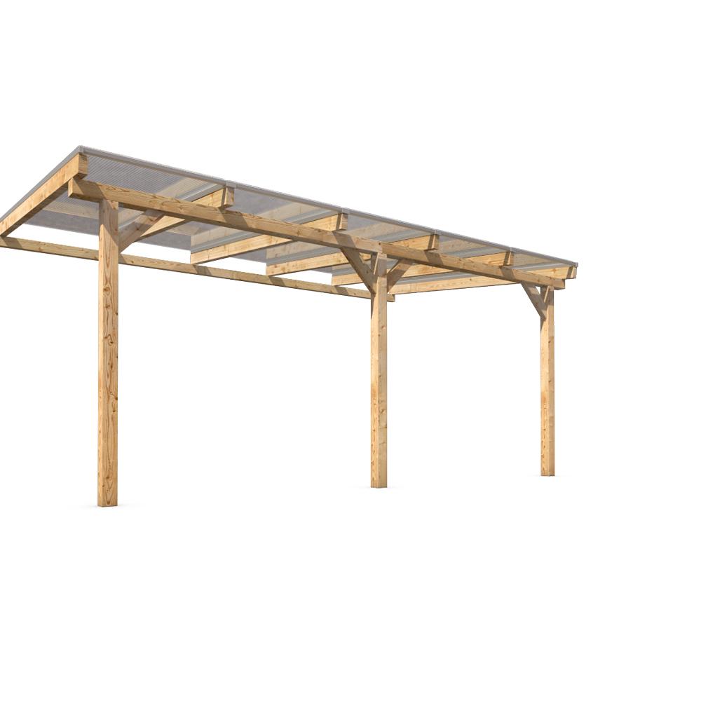 Massif bois auvent toit terrasse polycarbonate jardin patio 500x300cm ext rieure ebay for Abri de jardin avec auvent
