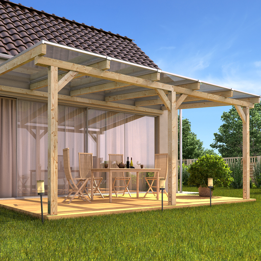 Massif bois auvent toit terrasse polycarbonate jardin for Piani di patio in legno