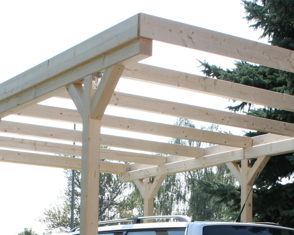 Colorado Flat Roof Carport : Wall mounting solid wood carport flat roof kvh mm