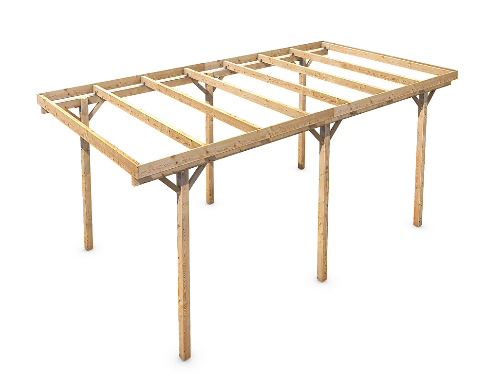 Freestanding solid wood carport flat roof kvh 3000x5000mm for Free standing carport plans
