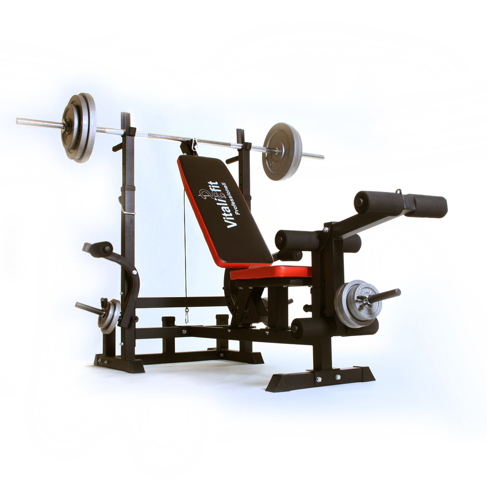 Folding Weight Bench 6 In 1 Including Barbell Weights Fitness Exercise Brand New Ebay