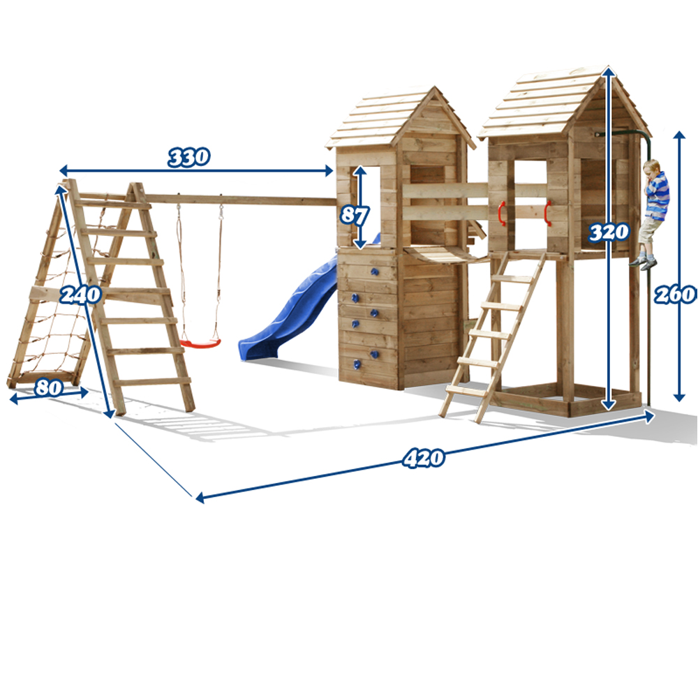 aire de jeux xxl cabane en bois toboggan balancoire rampe pont ebay. Black Bedroom Furniture Sets. Home Design Ideas