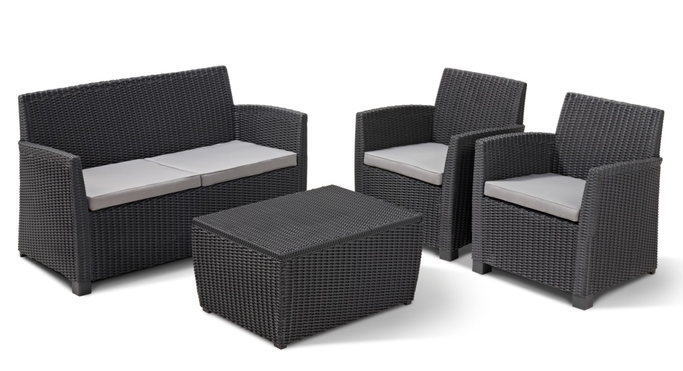 Allibert garden furniture lounge set corona rattan plastic for Muebles terraza rattan pvc chile