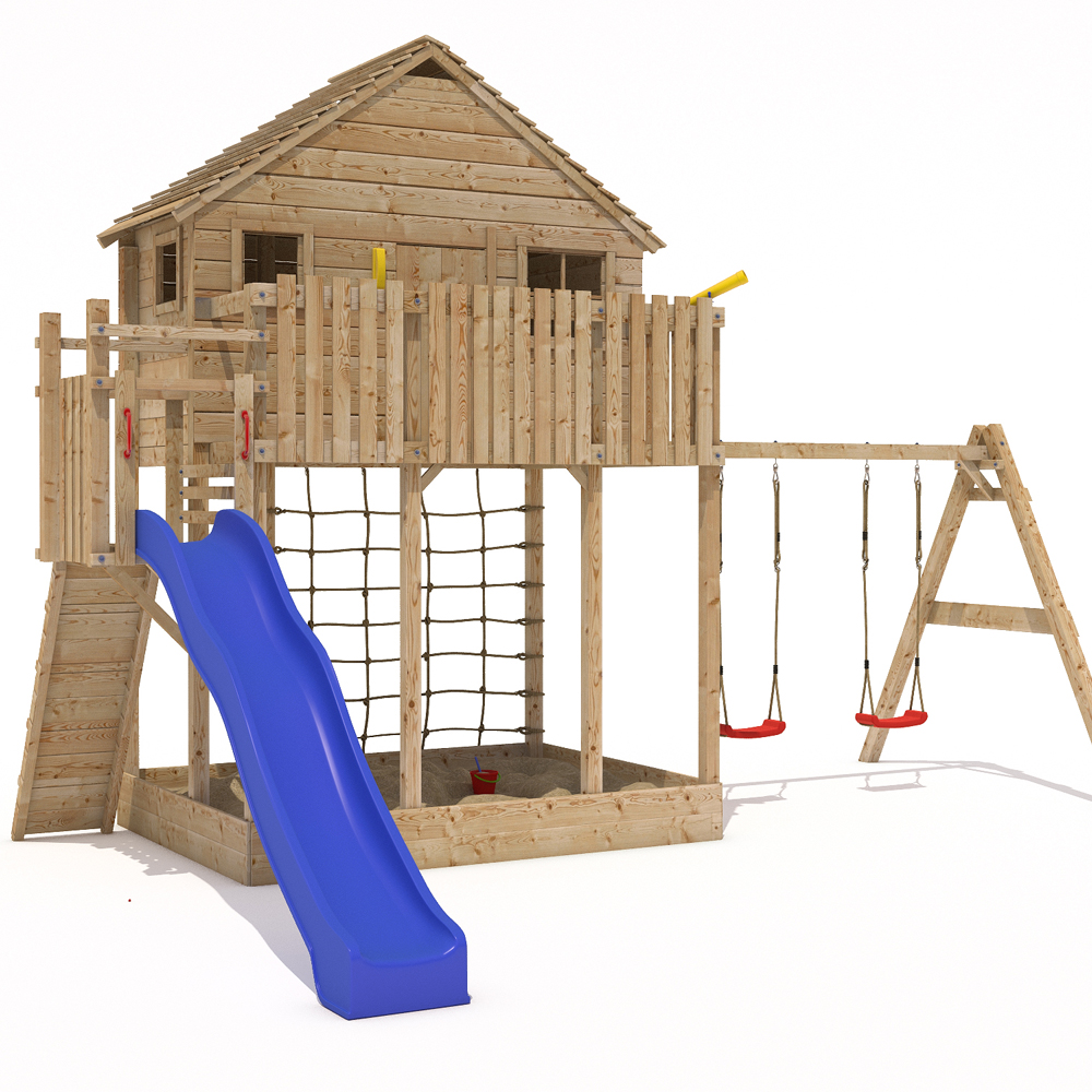 Xxl play tower tree house stilt kids playhouse sandpit for Childrens playhouse with slide and swing