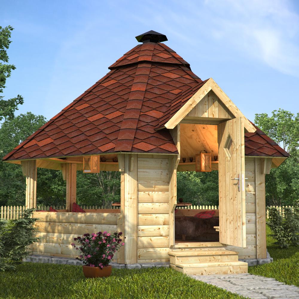 Cabane de barbecue en bois gril avec un gril de jardin for Toiture abri de jardin