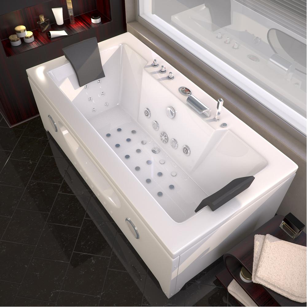 Whirlpool Rectangular Bathtub 2 Persons Tub Led Massage