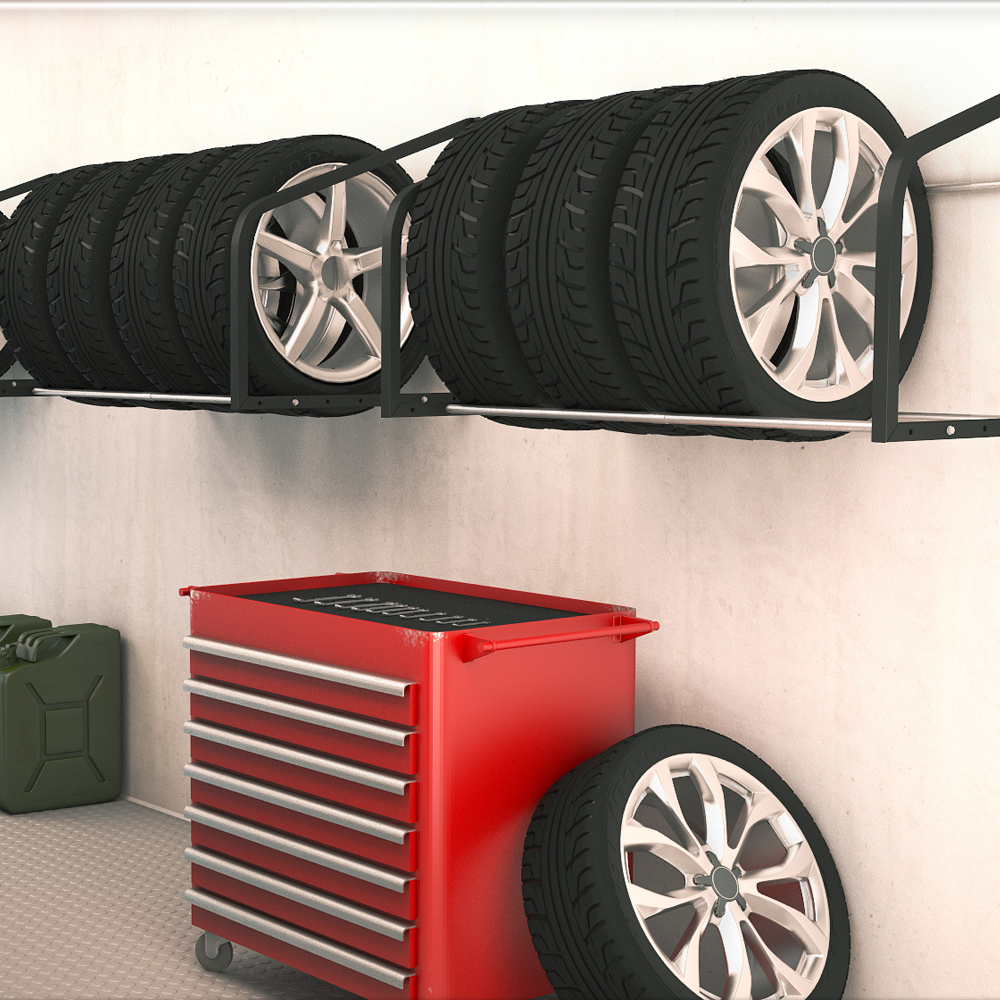 tire rack wall shelf wall mounted tire holder wheel storage racking garage ebay. Black Bedroom Furniture Sets. Home Design Ideas