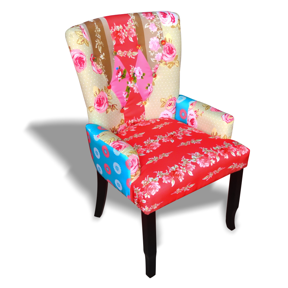 patchwork chair upholstered armrest relax multi colored. Black Bedroom Furniture Sets. Home Design Ideas