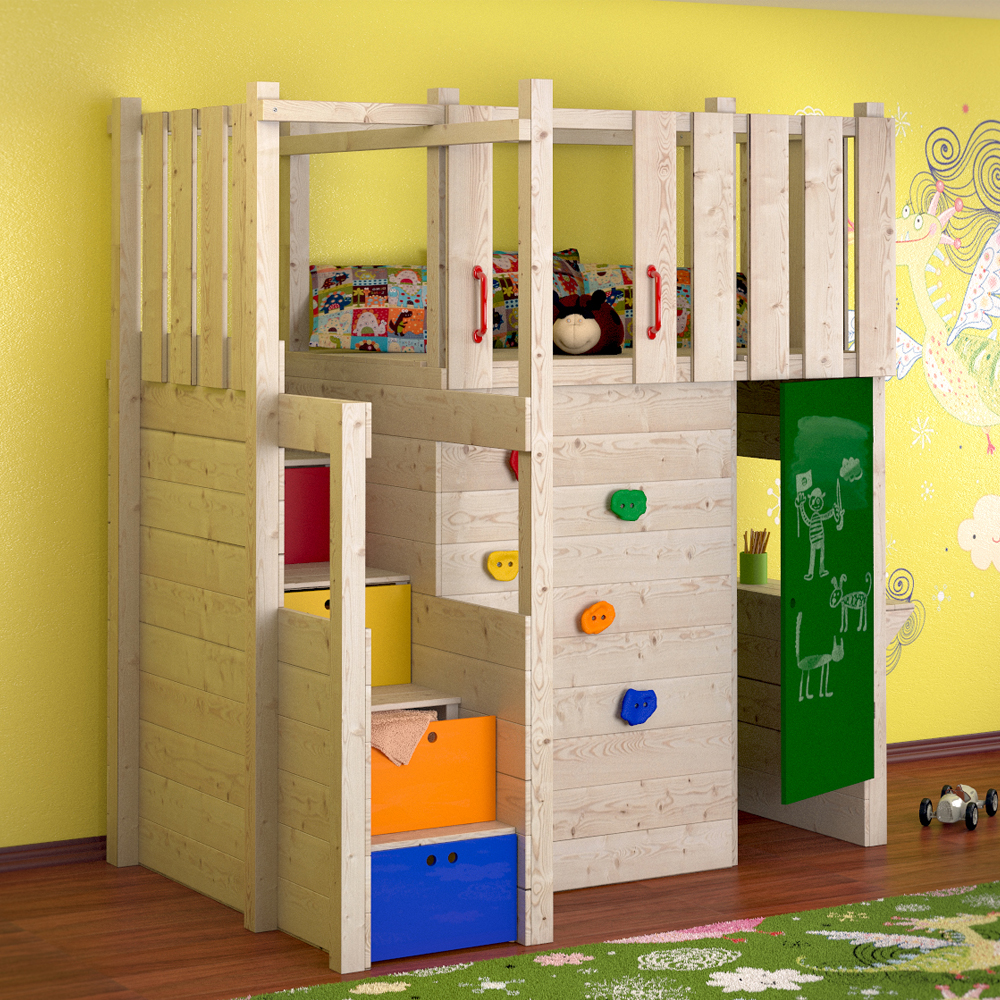 Indoor play tower loft bed wardrobe climbing wall for Bett kinderzimmer
