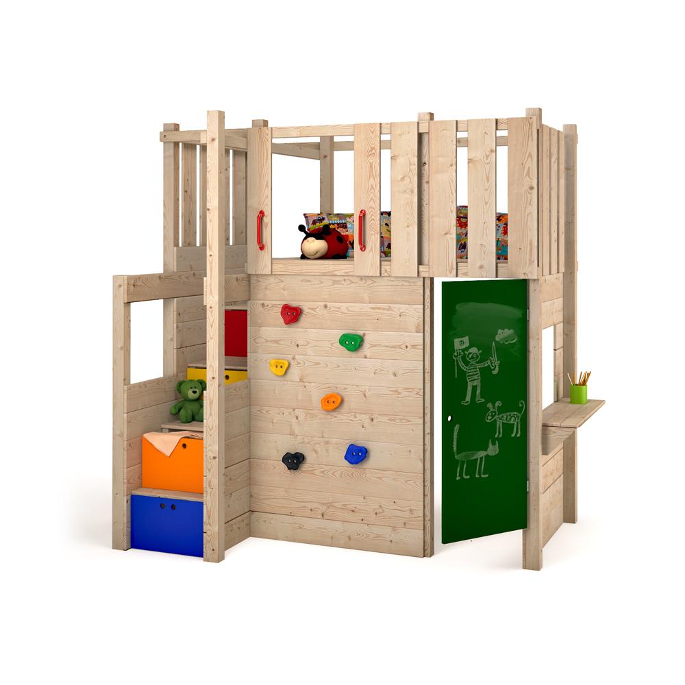 Indoor play tower loft bed wardrobe climbing wall for Children indoor