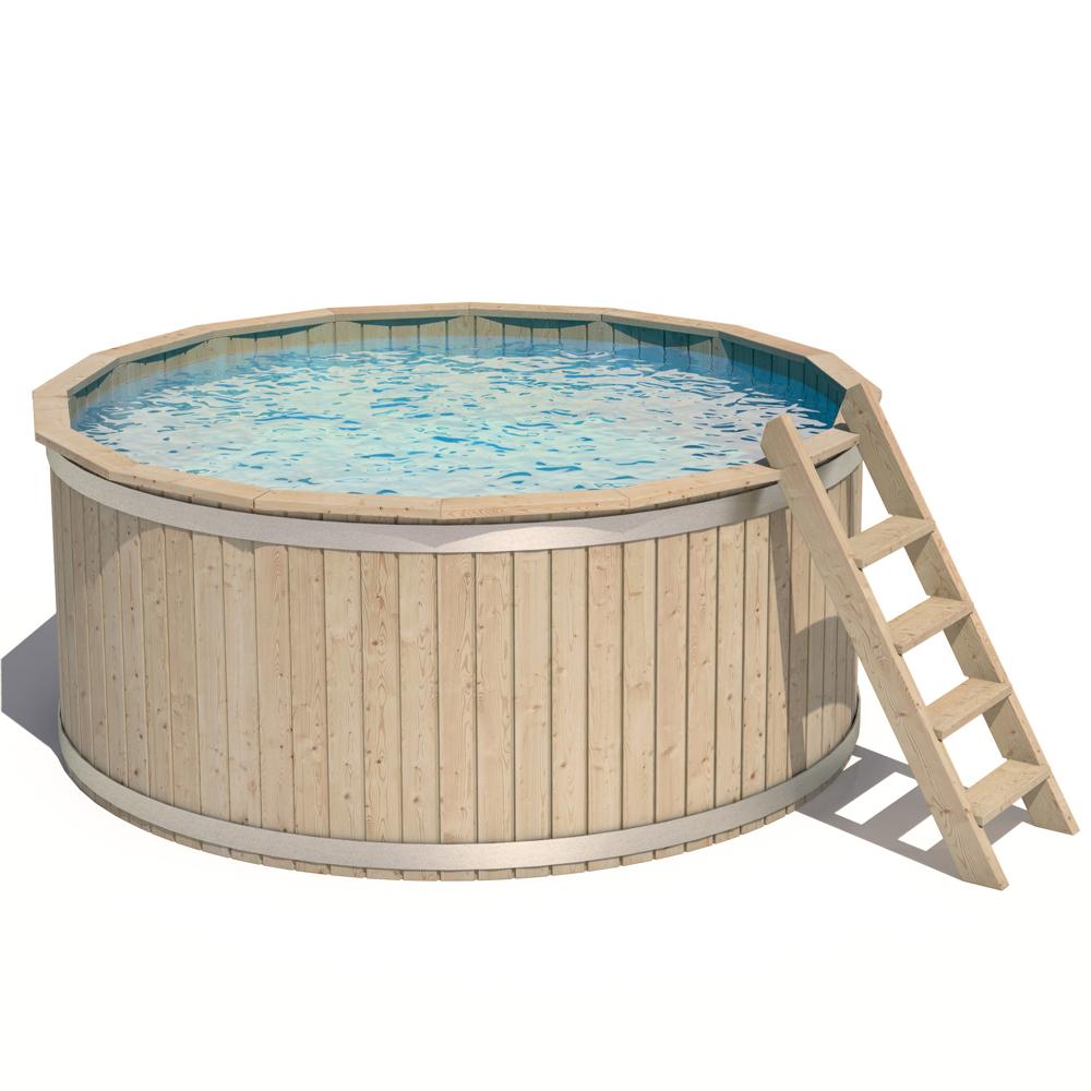Isidor piscina rotonda in legno vasca nuotare swimmingpool for Piscina rotonda
