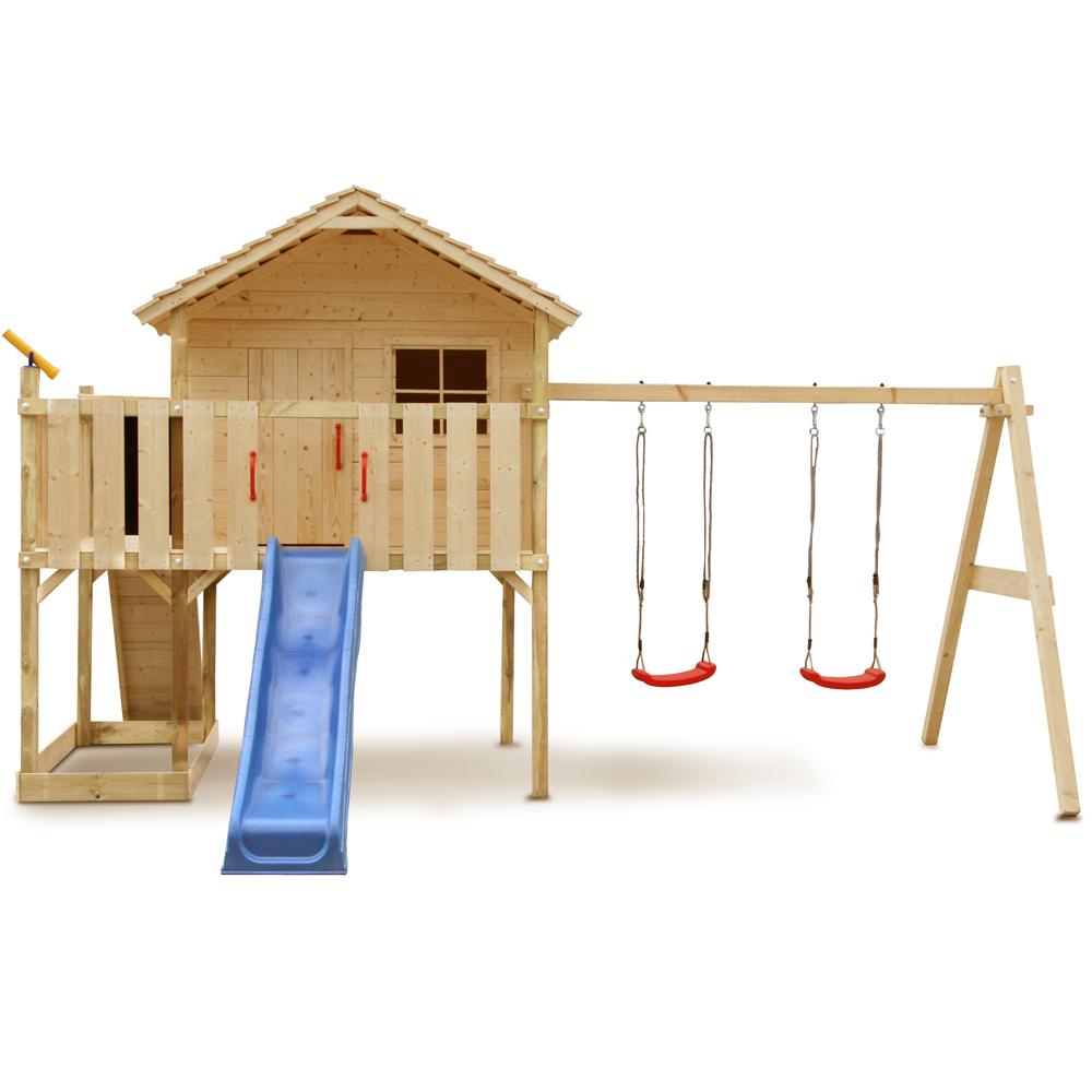 Casa de madera ni os tobog n columpio jard n patio for Casa jardin ninos