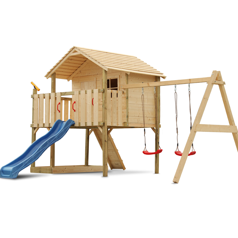 Children play tower stilt tree house wood slide swing for Casetas de jardin