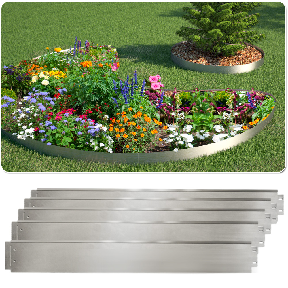 Bordure de pelouse 5m acier galvanis enceinte de plates for Bordure jardin metallique