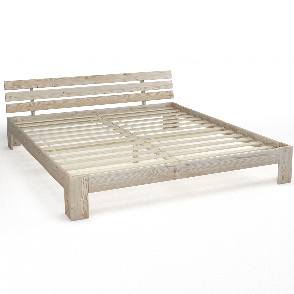 wooden double bed 180x200 cm solid wood bed frame incl slatted frame colour wood ebay. Black Bedroom Furniture Sets. Home Design Ideas