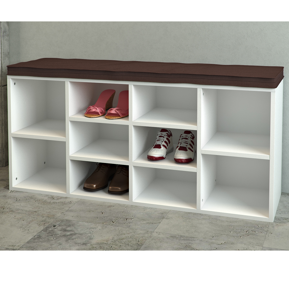 range chaussures banc chaussures banc rangement 10 paires rev tement mdf blanc ebay. Black Bedroom Furniture Sets. Home Design Ideas