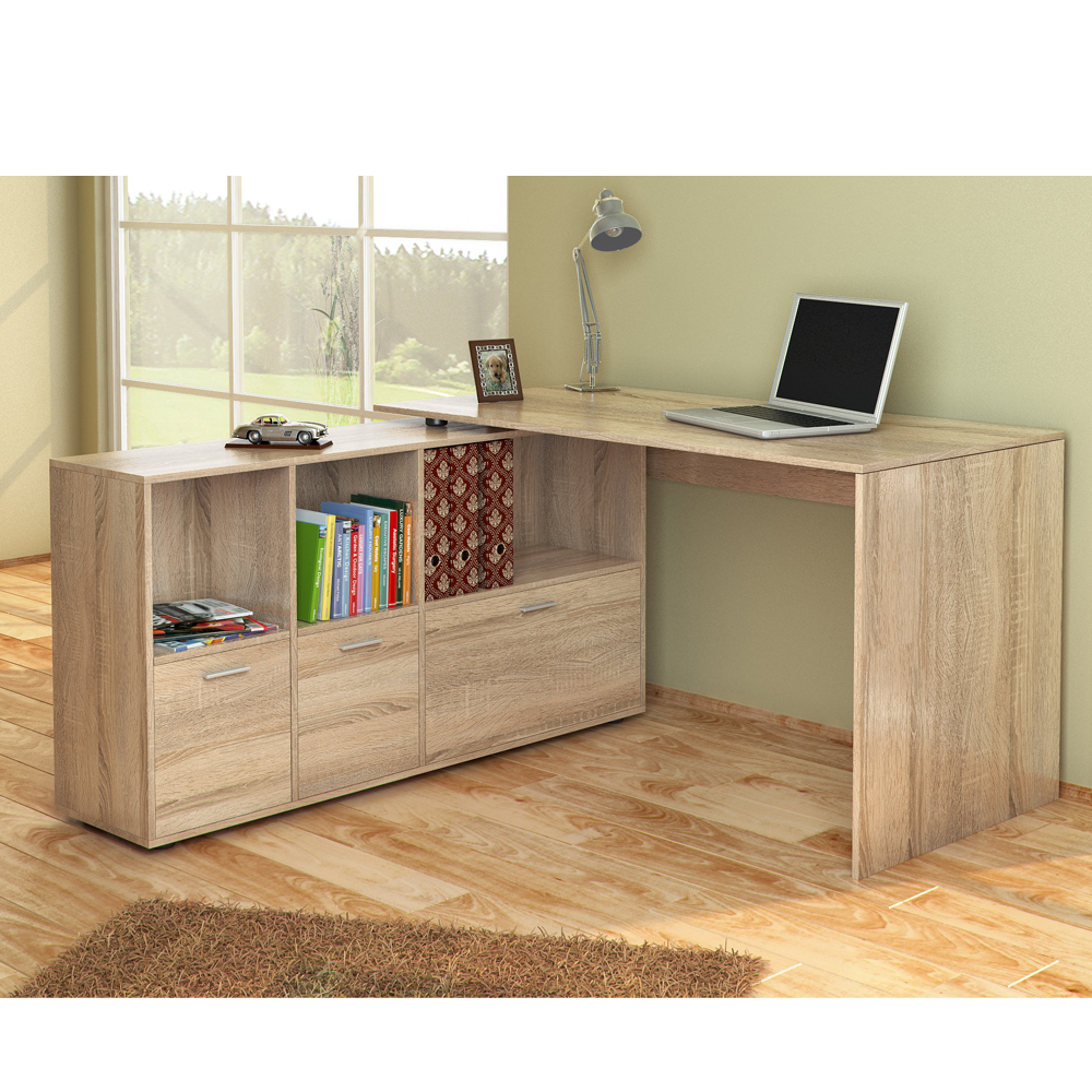 bureau en u bureau d 39 angle bureau multim dia de couleur ch ne de sonoma ebay. Black Bedroom Furniture Sets. Home Design Ideas