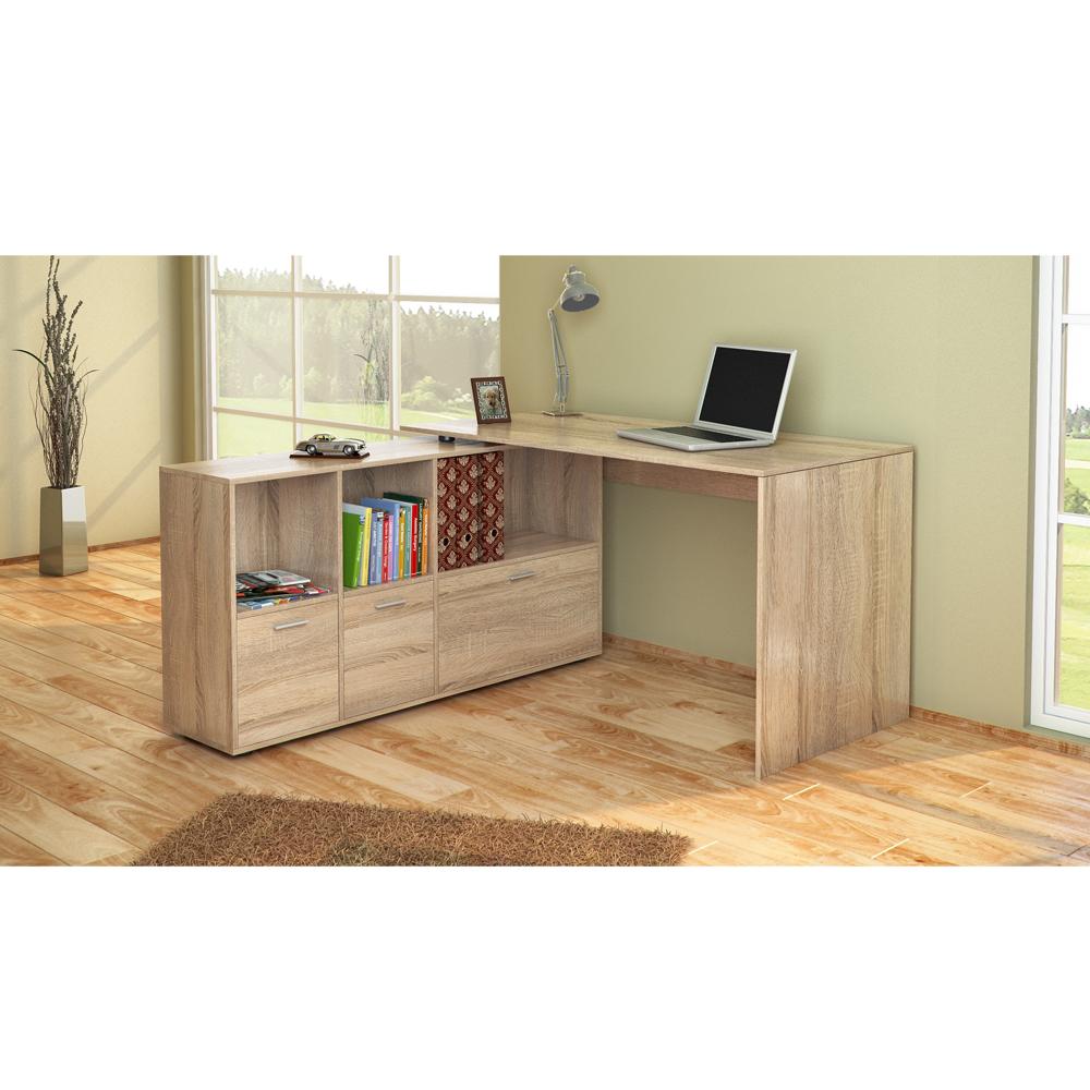 bureau en u bureau d 39 angle bureau multim dia de couleur ch ne de sonoma ebay. Black Bedroom Furniture Sets. Home Design Ideas