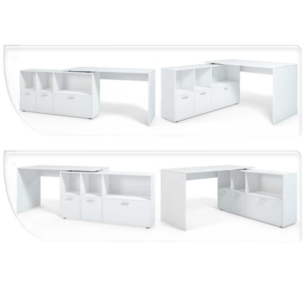 Bureau en u bureau d 39 angle bureau multim dia de couleur blanc for Bureau multimedia blanc