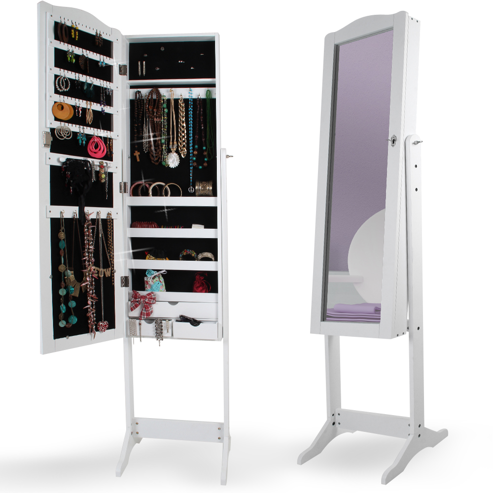 Jewelry armoire mirror cabinet standing mirror jewelry box for Porte miroir ikea