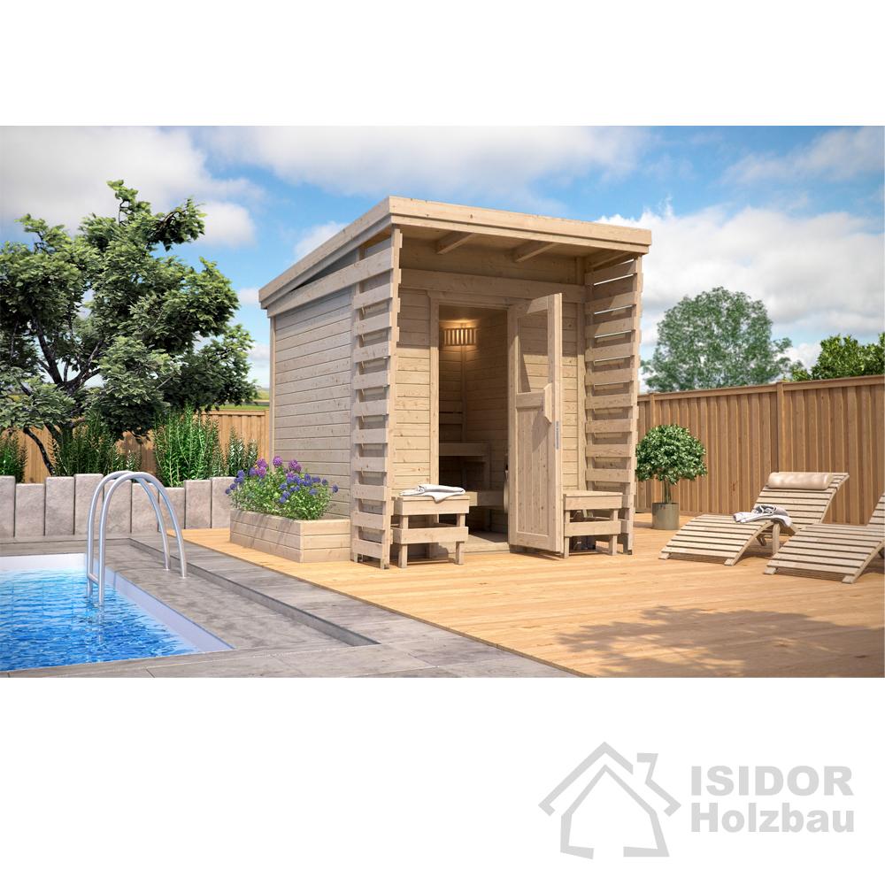 Isidor sauna ext rieur sauna cabine sauna 2x2 m toit en for Panneaux de bois exterieur