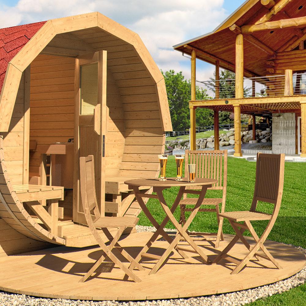 Isidor terraza de madera para barril sauna sauna tonel for Terraza de madera exterior