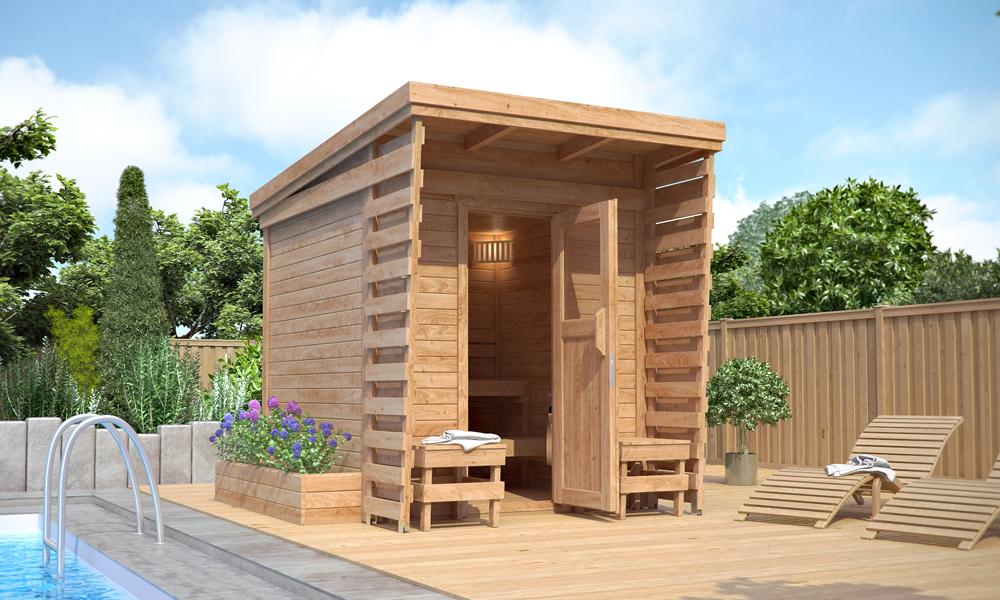 Isidor sauna all 39 aperto sauna cabina sauna 2x2m in legno for Cabina con avvolgente portico