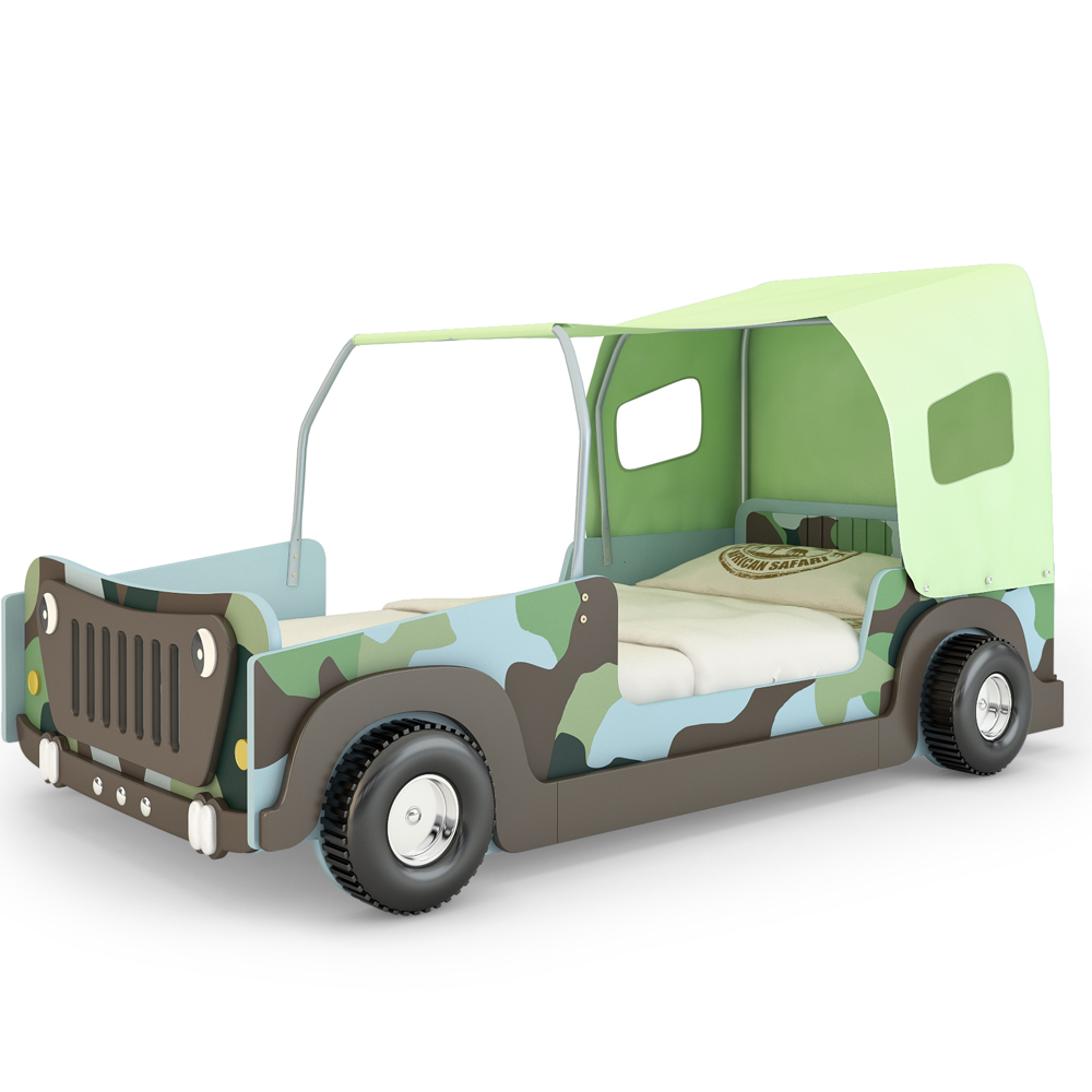 lit pour enfants en forme de voiture jeep vert meubles jeunes couchage 90 x 200 ebay. Black Bedroom Furniture Sets. Home Design Ideas