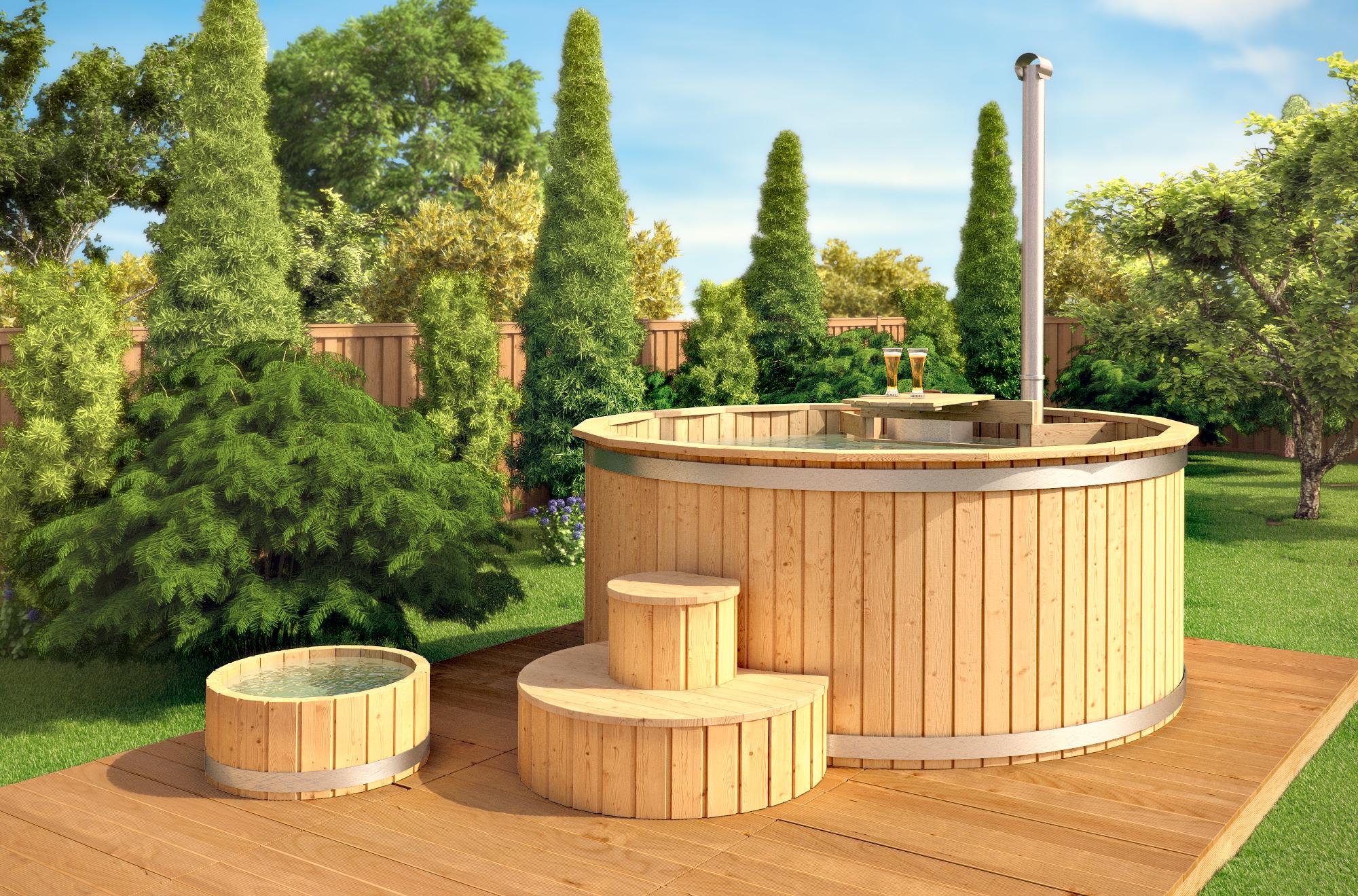 de madera barril bao piscina al aire libre hidromasaje jacuzzi
