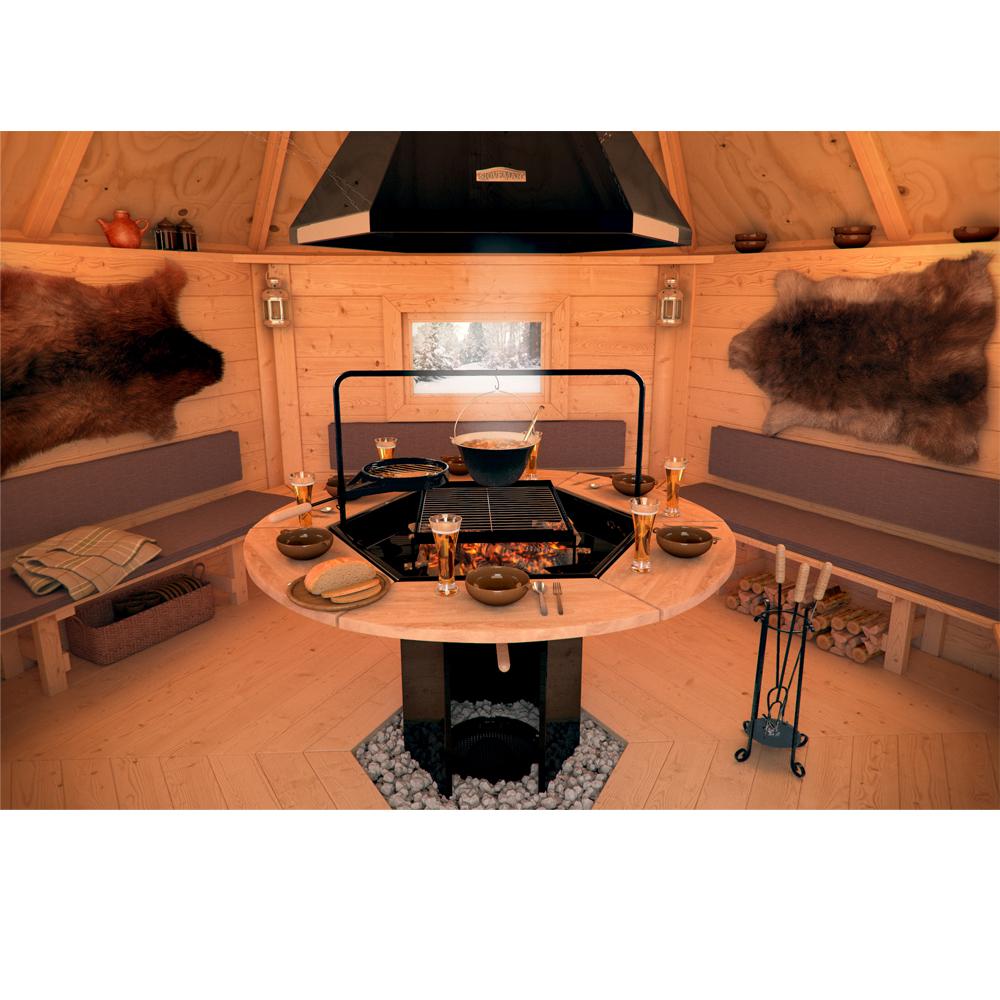 Chalet barbecue satuja pavillon cabane pour soir es tre for Abri de jardin octogonal