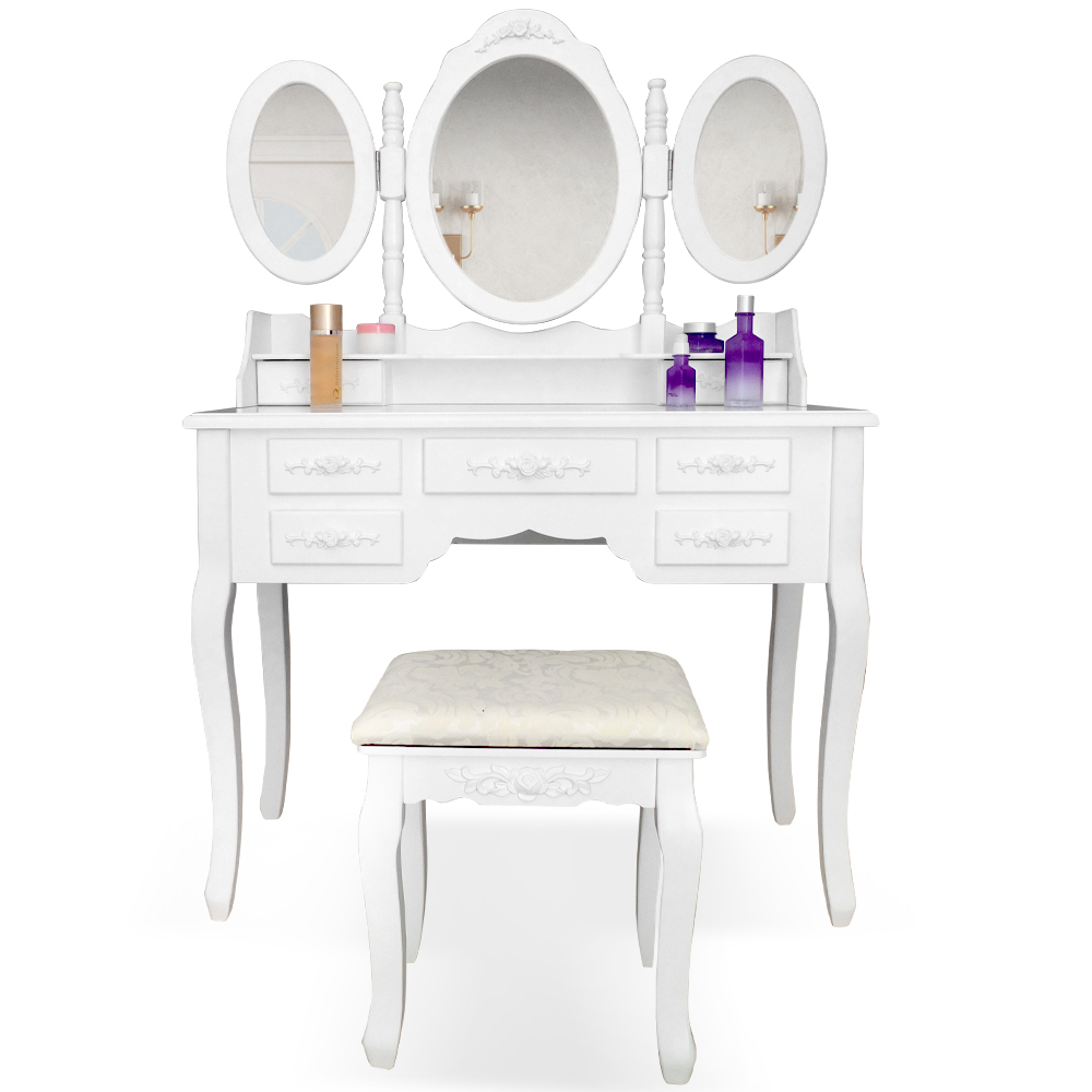 cabinet de toilette coiffeuse d 39 poque avec miroir de couleur blanche et taboure ebay. Black Bedroom Furniture Sets. Home Design Ideas
