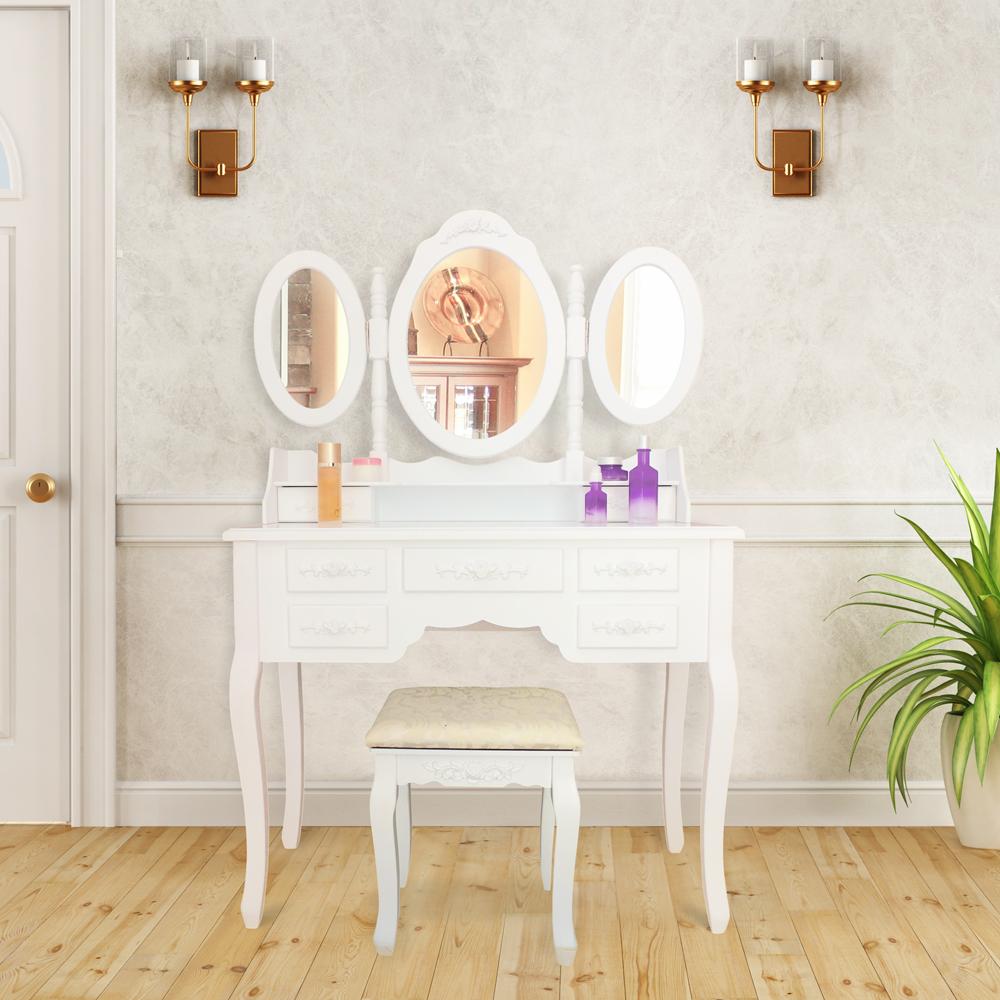 cabinet de toilette coiffeuse d 39 poque avec miroir de couleur blanche et taboure ebay. Black Bedroom Furniture Sets. Home Design Ideas