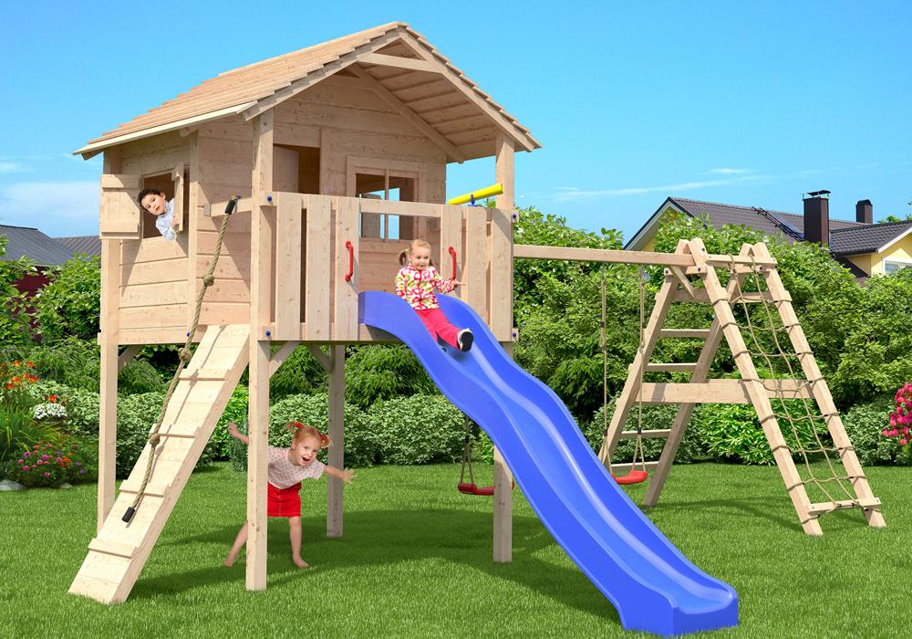 fridolino aire de jeux cabane de jeu tour d 39 escalade glissez swing ebay. Black Bedroom Furniture Sets. Home Design Ideas