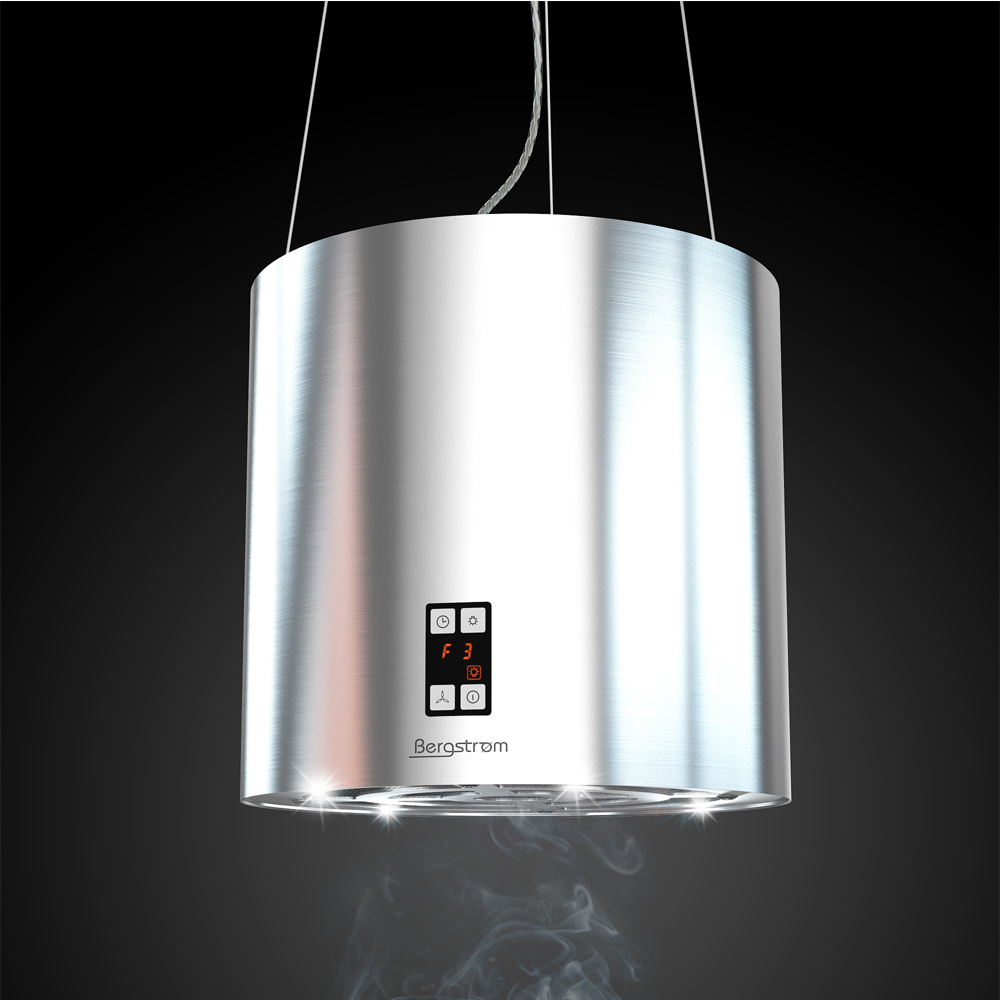 bergstroem design extractor cooker hood island hood stainless steel ceilin 4260337569335 ebay. Black Bedroom Furniture Sets. Home Design Ideas