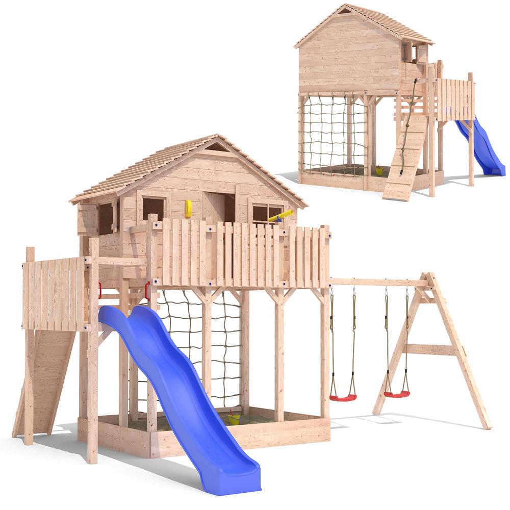 Xxl casa de madera torre juego ni o arenero tobog n 2 - Casa con tobogan ...