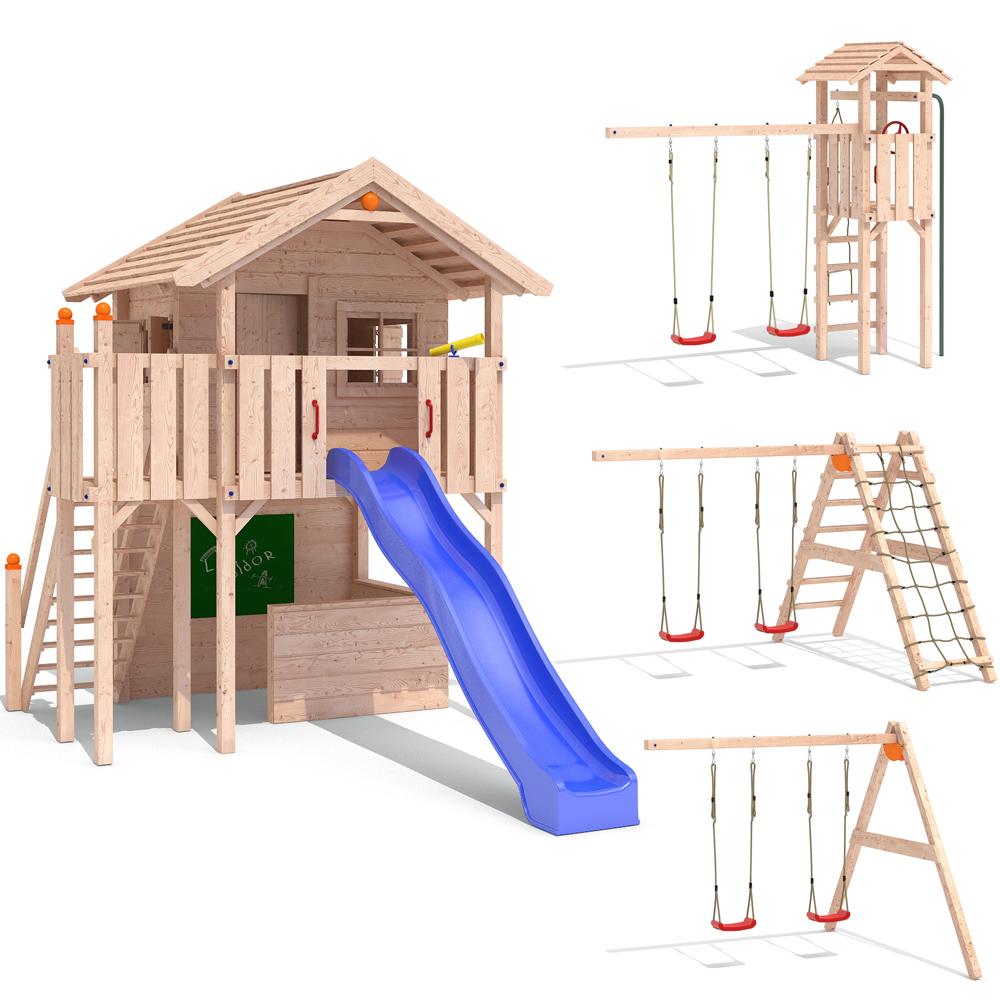 isidor lucky large aire de jeux glissez swing treehouse cabane de jeu ebay. Black Bedroom Furniture Sets. Home Design Ideas