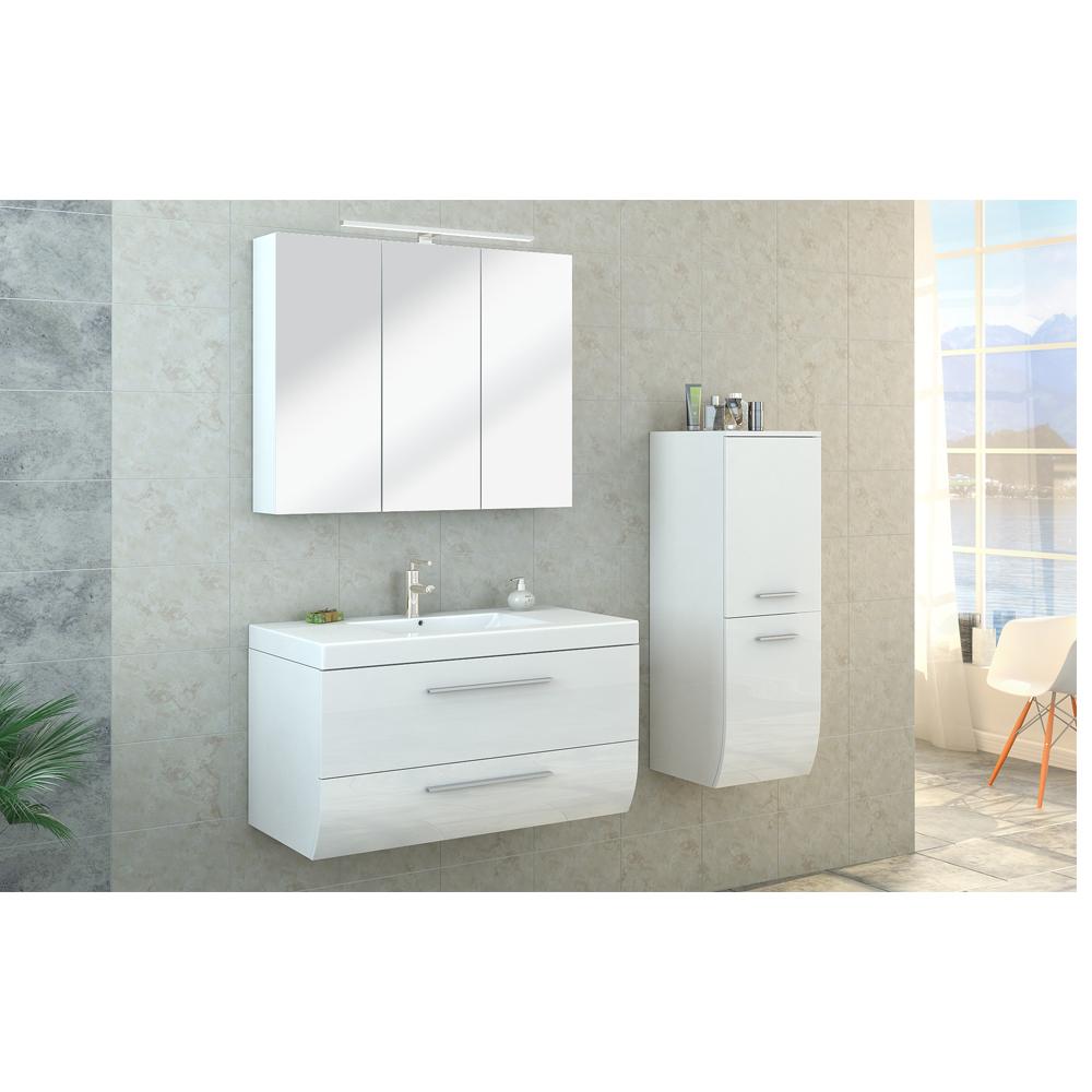Beautiful Bathroom Furniture Set High Gloss Bathroom Mirror Cabinet Sink LED
