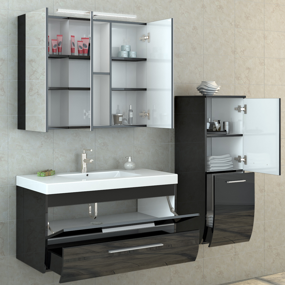 White high gloss bathroom furniture