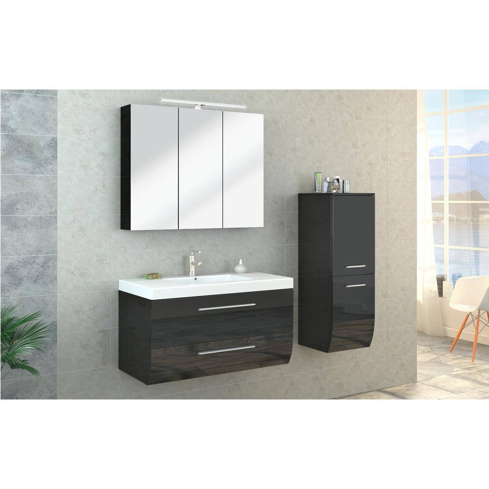 bathroom furniture set high gloss bathroom mirror cabinet sink led
