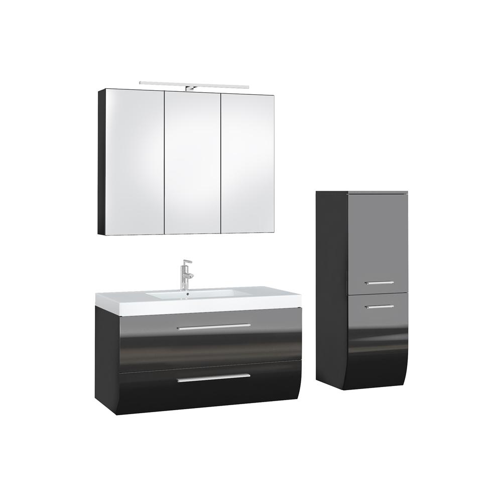 Bathroom Furniture Set High Gloss Bathroom Mirror Cabinet Sink Led Anthracite Ebay