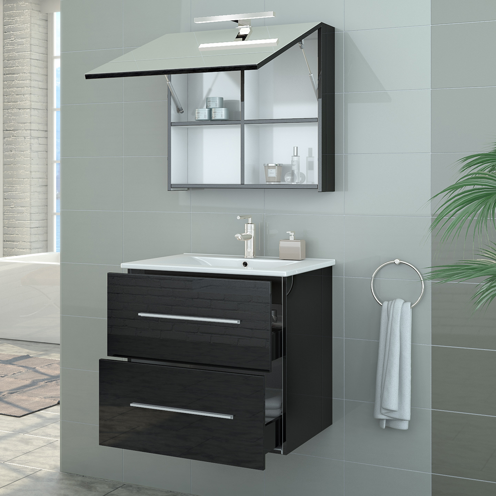 Bathroom furniture set high gloss bathroom mirror sink