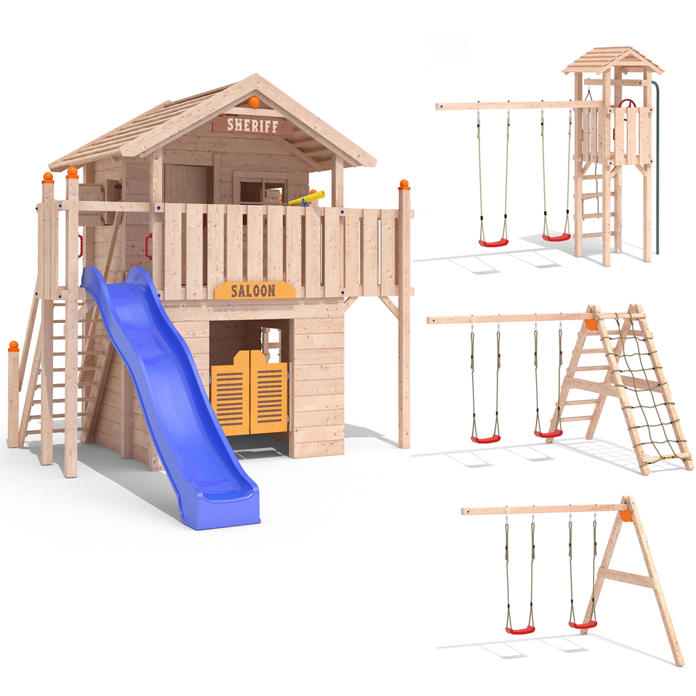 isidor western world aire de jeux glissez swing treehouse cabane de jeu ebay. Black Bedroom Furniture Sets. Home Design Ideas