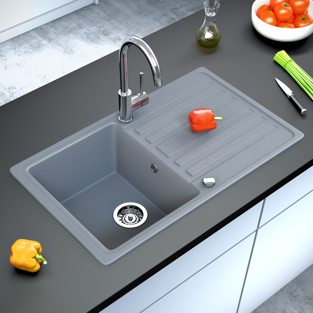 Gray Granite Sink : ... granite kitchen built-in sink reversible 765x460 grey eBay