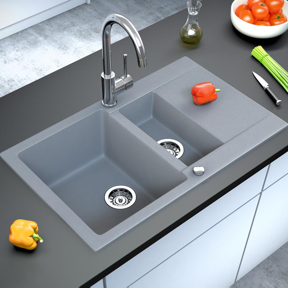 Bergstroem vier de cuisine en granit encastr r versible for Evier de cuisine en granite