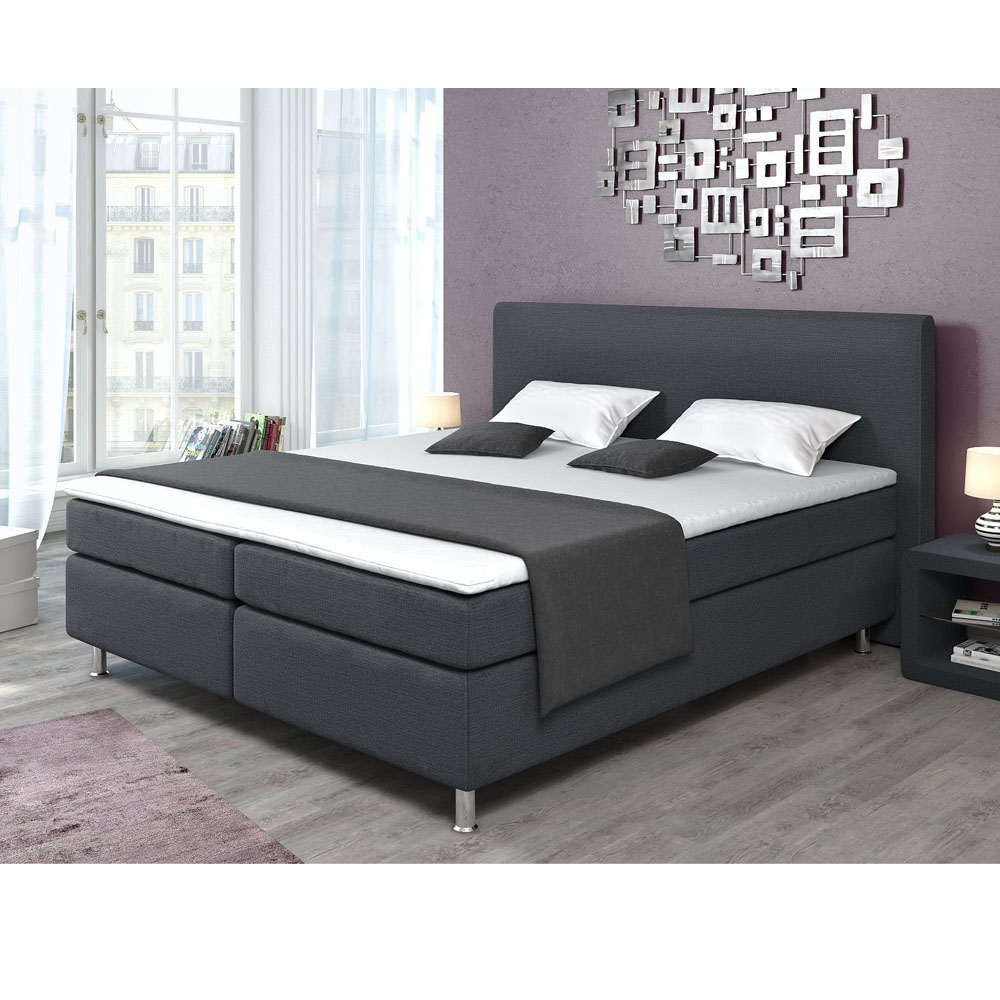 lit tapissier boxspring lit double lit d 39 h tel lit capitonn 180x200 incl topper ebay. Black Bedroom Furniture Sets. Home Design Ideas